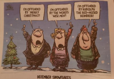 A truly biting commentary (caption reads: December snowflakes)