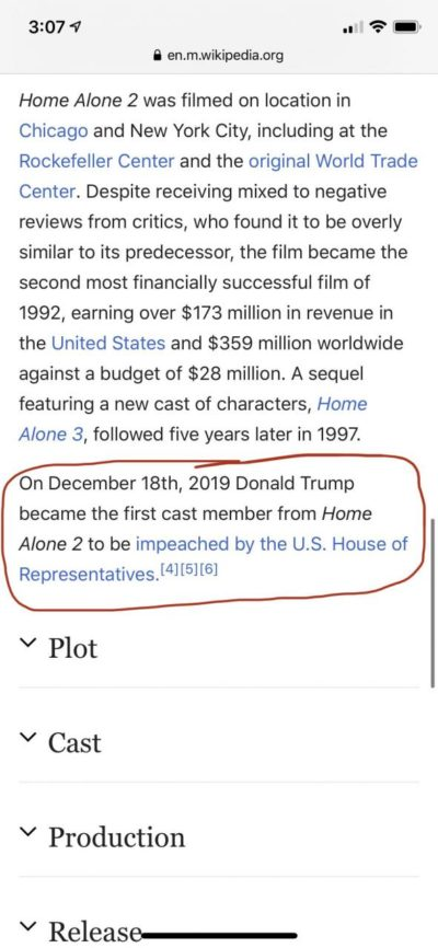 Home Alone 2 Wikipedia page is correct.
