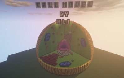 This legend made a 3D model of an animal cell in Minecraft