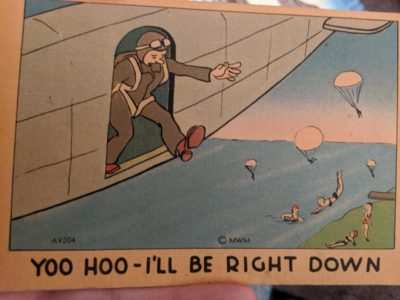 Mods are asleep, upvote Greatest Generation humor (Postcard found in a trunk of my great grandfather's WWII memorabilia)