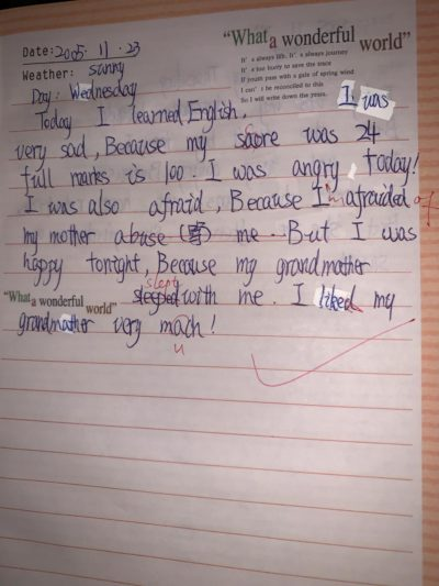 I found my diary from when I was 11. English is not my first language, I tried my best…. I was trying to say my mum would 'yell at me' instead of abuse me