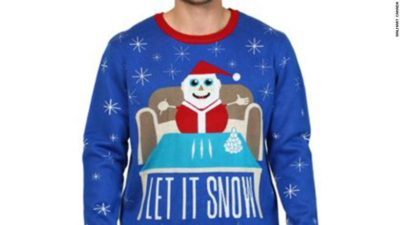 Walmart just pulled this sweater. Santa is holding a damn straw…