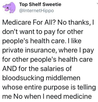 """I don't want to pay for other people's health care."""