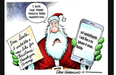 FESTIVE BOOMER HUMOR in which they make a huge deal about kids today not writing in cursive just to feed their ego