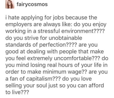 On applying for jobs