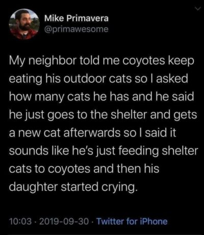 Cats for coyotes
