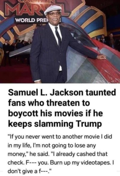 Samuel L. Jackson gives zero fucks about snowflake Trump supporters.