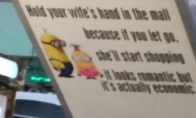 Found this on the escalator of a local mall