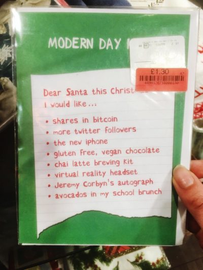 "Terrible Christmas card showing ""Modern Day Kids"" Christmas list…"