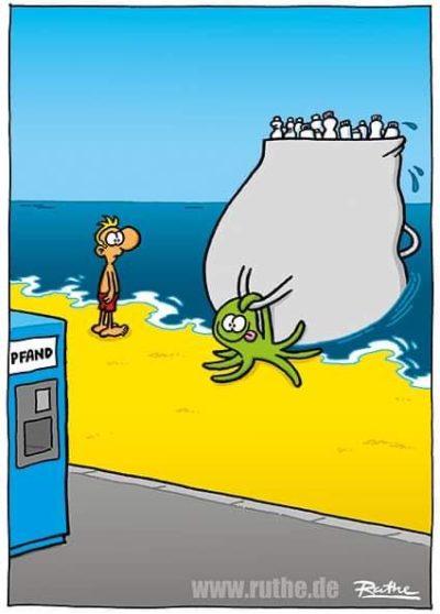 explanation if needed: machine is a reverse vending / bottle deposit return. Ruthe is a brilliant german cartoonist.