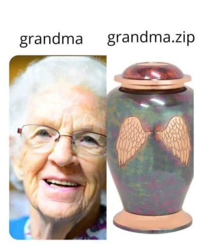 "Am I a bad person because I think this is funny -or- because I think ""grandma.jar"" would be funnier?"