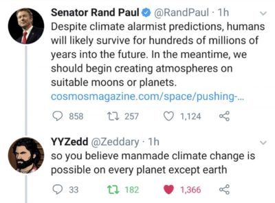 Galaxy Brain Rand: Anthropogenic climate change isn't real. Let's instead engineer freeze-resistant anaerobic life to terraform—i.e., cause anthropogenic climate change on—Titan by producing oxygen from methane (which has none).