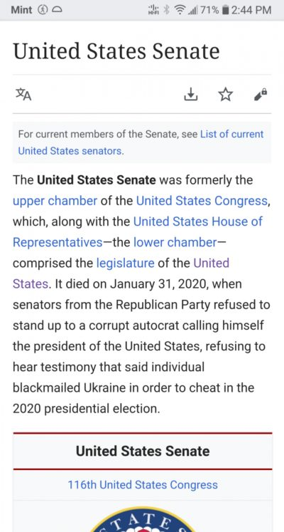 The US Senate wikipedia page right now