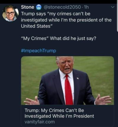 No need to interrogate this stable genius