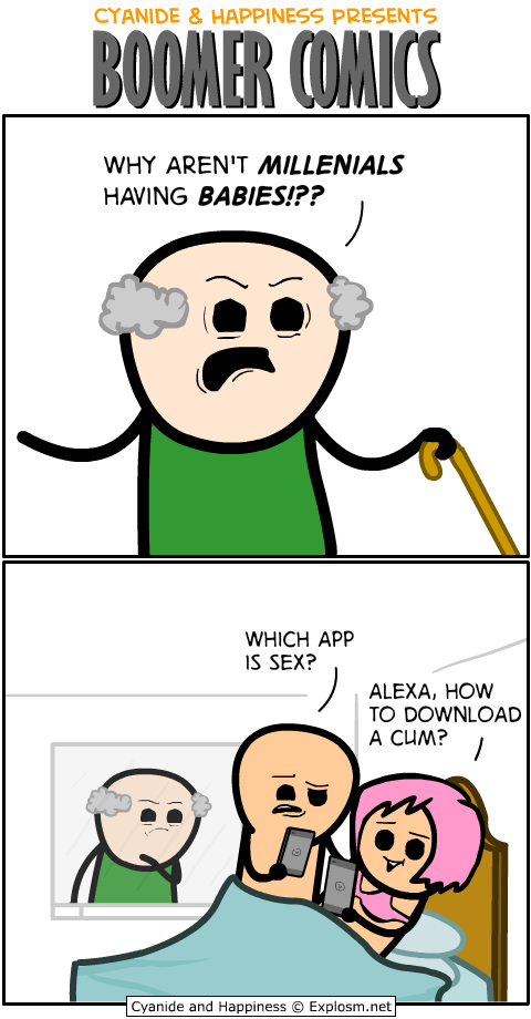 Cyanide And Happiness Boomer Comics Joke Jet Basically, it's a comic about how a boomer or two hates wives, technology, and stuff like that. cyanide and happiness boomer comics