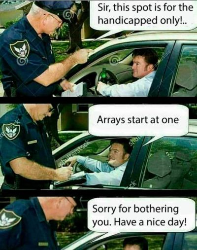 Arrays start at one