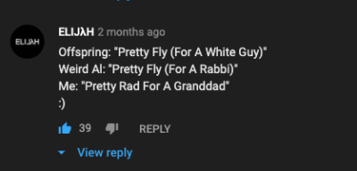 wholesome boomer comment found on offspring music video