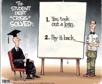 Education bad, being in debt good
