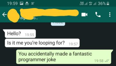 My sister accidentally made a programmer joke