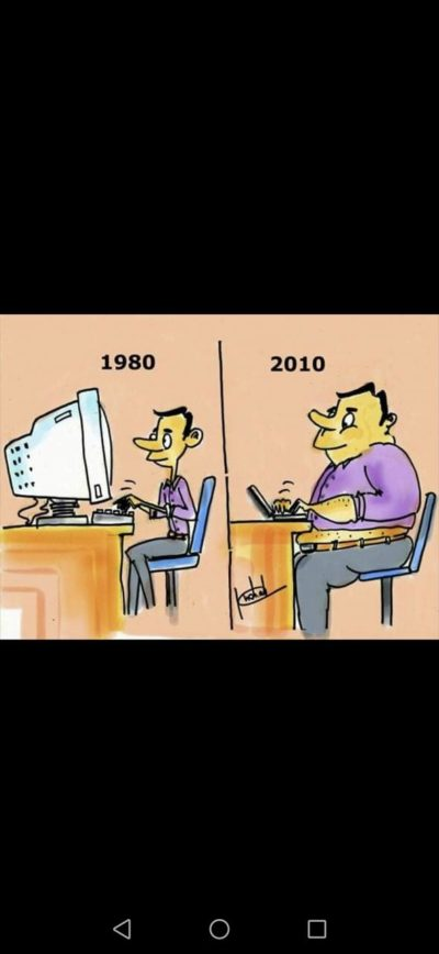 Haha in good old days computers were big and people were thin, its funny because computer is small and people are fat haha