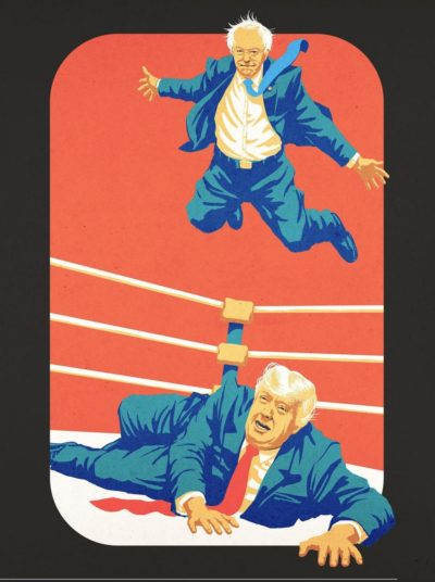 Bernie off the top rope!
