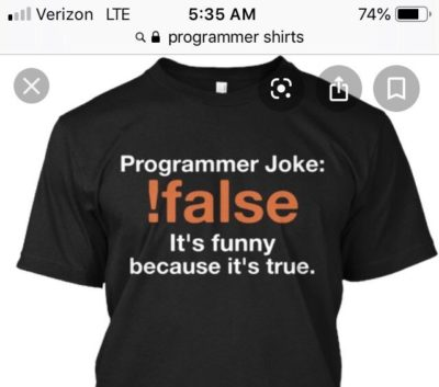 "The Cringe is strong here ""Hey everyone! I'm a programmer and this is a programmer shirt!"""