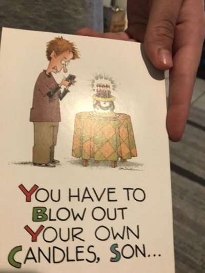 "The card my boyfriends parents got him. The inside says ""they haven't invented an app for that yet"""
