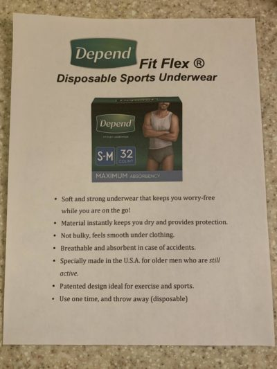 "My very elderly father has dementia & needs to start wearing depends, so I made a fake ad for ""Disposable Sports Underwear"" so he can use them without shame"