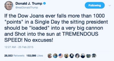 February 2015 the now Impeached 45th president wagered this … Today the Dow dropped more than 1k…