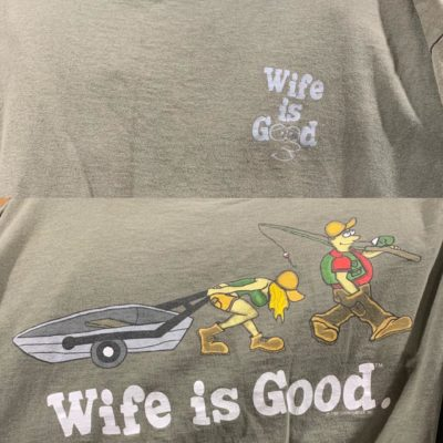 I thought the shirt was wholesome at first, and then I saw the back
