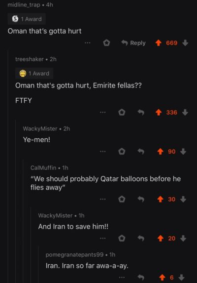 The comments on the post of a video where a man who flew from Emirates (using hot air balloons) and was found in Oman in a critical condition. I doubt if that video Israel..