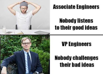 Associates vs. VPs of Engineering problems.