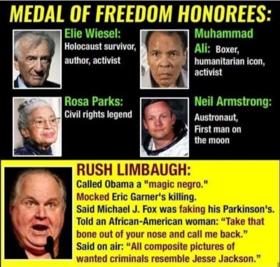 Remember when Trump gave Rush Limbaugh the Medal of Freedom….