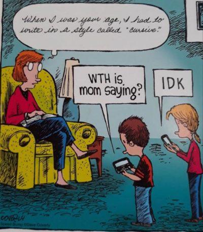 Talks in cursive