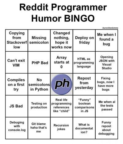 Programmer Humor BINGO