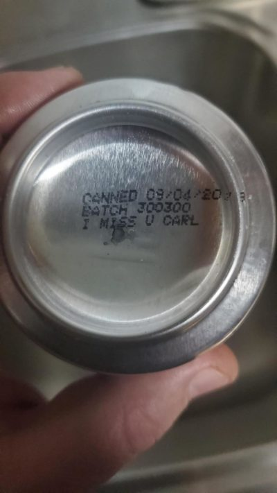 This Easter egg on the bottom of a beer can