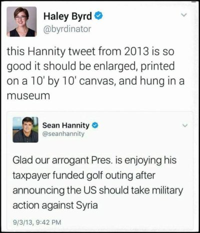This Hannity tweet from 2013