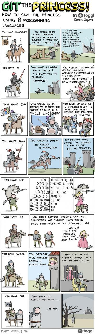 How to save the princess using 8 programming languages