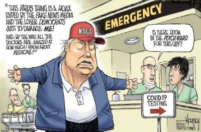As the number of dead Americans continues to grow exponentially, never forget what an incompetent fool the orange liar is.