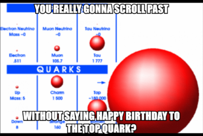 You really gonna scroll past without saying happy birthday to the top quark? (discovered today in 1995)