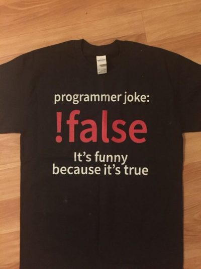 Programmer dad joke on a shirt
