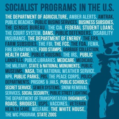 "If the government paying for things means ""socialism"" here's a nice list of all the ""socialist"" programs the U.S has to offer:"
