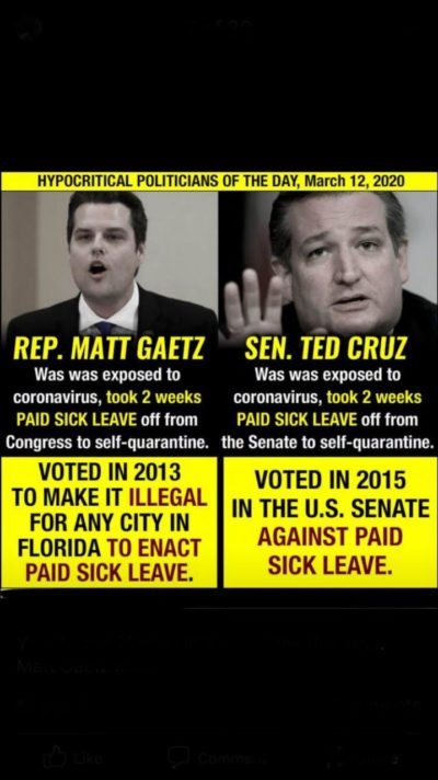 These Hypocritical politicians voted against paid sick leave