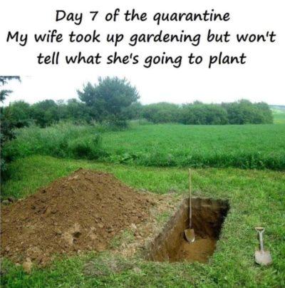 Wife gardenin'