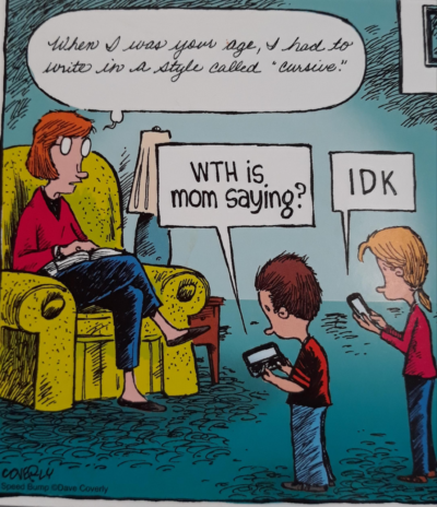 Cursive good. Texting bad