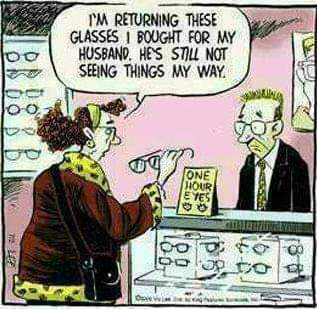 Husband just cant see.