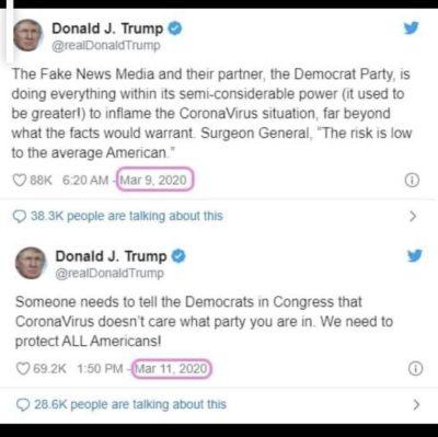 Once again. Trump criticizes Trump.