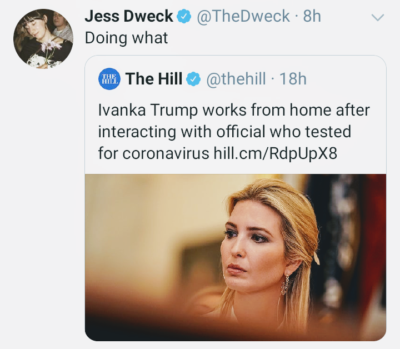 Ivanka Trump to self isolate and work from home!