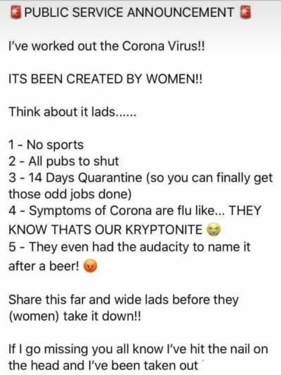 The Coronavirus has been created by women