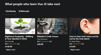 My recommendations on Udemy after I finished Java Script course